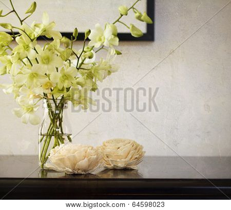 Vintage Texture Background With Orchids In Vase