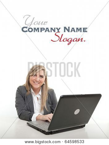 Young businesswoman, at her desk with a happy expression