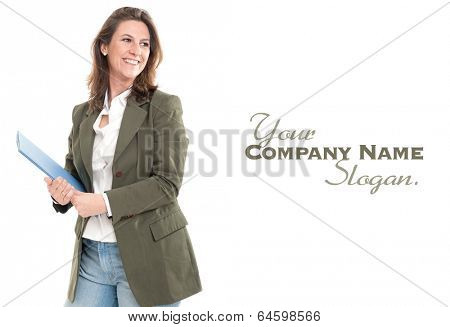 Smiling woman holding a folder in casual business attire