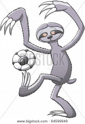 Sloth playing soccer