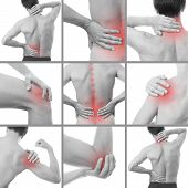 Pain in a man's body. Isolated on white background. Collage of several photos poster