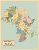 Africa-highly detailed map.All elements are separated in editable layers clearly labeled. Vector  poster