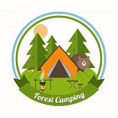 Forest Camping circular emblem with a curious bear peering around a tent in a pine forest with green trees with a campfire  table and chair and a ribbon banner with the text - Forest Camping - below poster