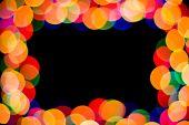 celebration colored light spot frame on black background poster