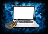 Abstract background is binary code and laptop with combination lock. Electronic concept poster