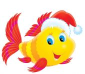 A funny fish wears a Christmas cap like Santa Claus poster