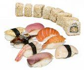 Japan food sushi set on white background poster