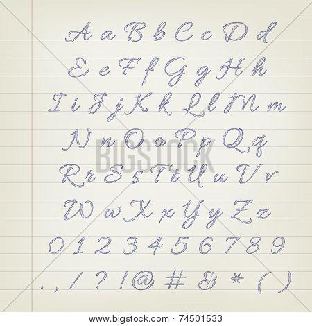 Vector Pen Sketched Alphabet