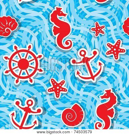 Seamless Nautical Pattern On Light Blue Background With Sea Horses, Sea Stars, Anchors, Wheels, Shel