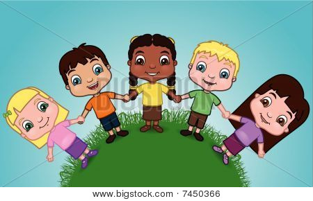 Kids holding hands on a hill