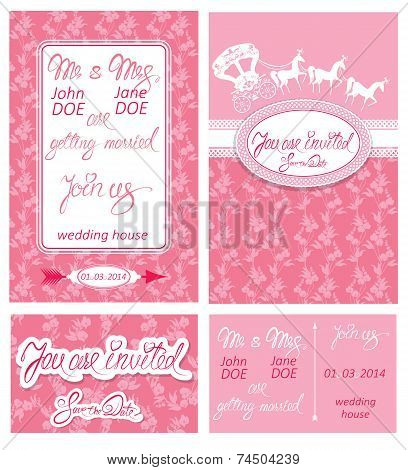 Wedding invitation cards with floral elements calligraphic handwritten text carriage and horse. poster