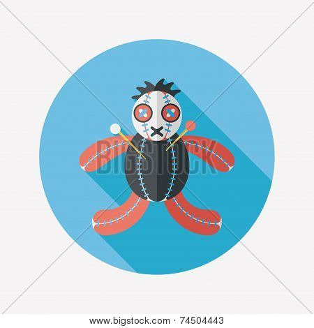 Halloween Voodoo Doll Flat Icon With Long Shadow,eps10