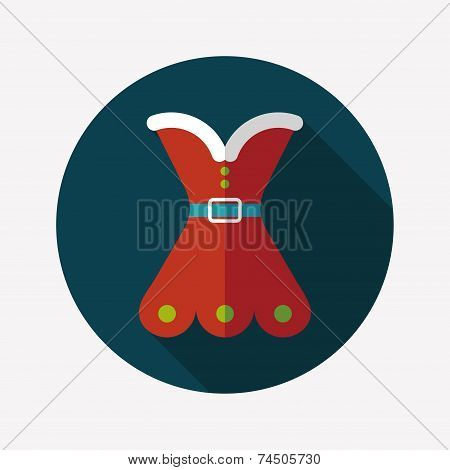 Christmas Costume Flat Icon With Long Shadow, Eps10