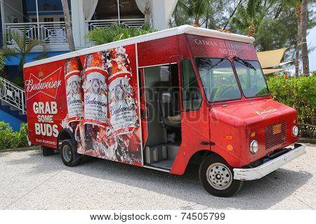 Budweiser distributor truck at Grand Cayman