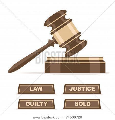 Judges gavel or auction hammer