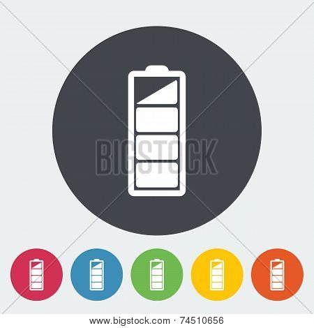 Charging the battery. Single flat icon on the circle. Vector illustration. poster