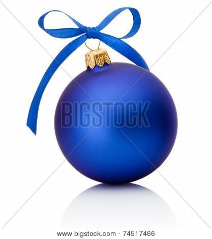 Blue Christmas Ball With Ribbon Bow Isolated On White Background