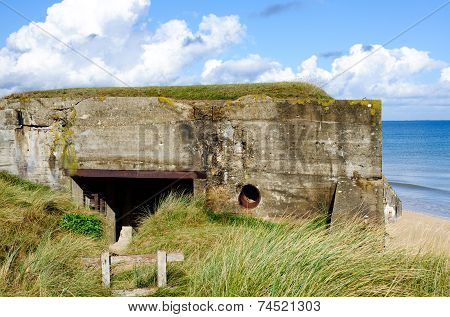 Germany bunker WW2 Utah Beach is one of the five Landing beaches in the Normandy landings on 6 June 1944 during World War II. Utah is located on the coast of  Normandy France poster