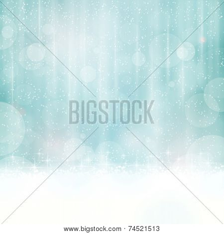 Abstract background in winter colors with blurry light dots. Stars and light effects give it a dreamy, soft feeling and a glow perfect for the festive Christmas season to come. Copy space.