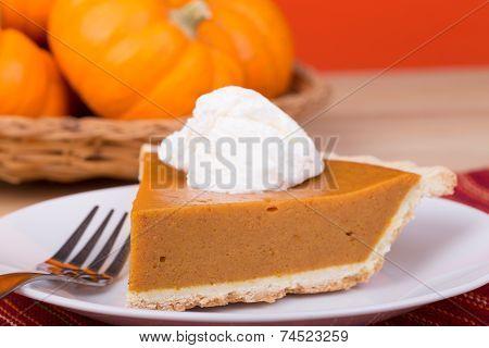 Closeup Of Pumpkin Pie Slice