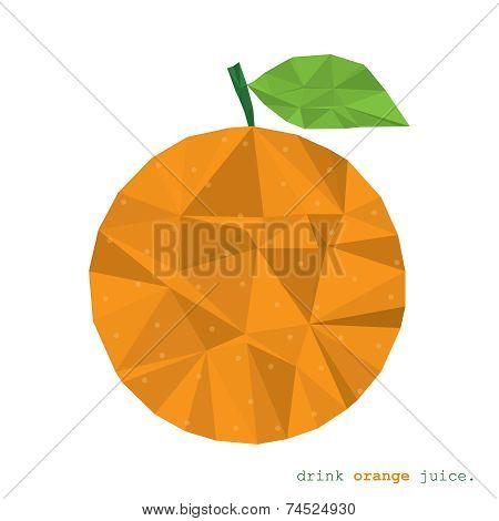 Orange fruit polygonal modern element