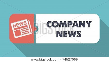 Company News on Blue in Flat Design.
