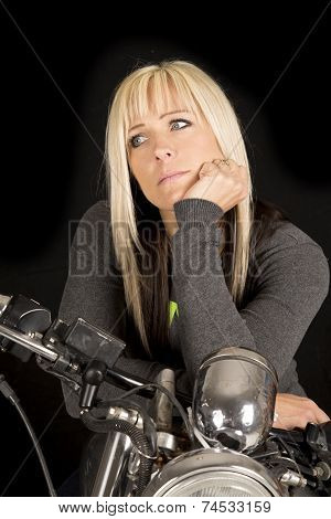Woman On Motorcycle Look Side Black Back
