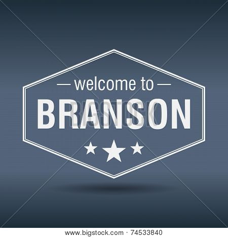 Welcome To Branson Hexagonal White Vintage Label