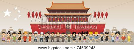 Group of chinese happy cartoon people in front of Forbidden city in  Beijing , China