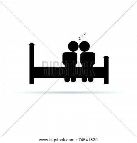 Couple On Bed Icon Vector