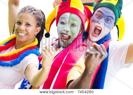 a group of young sports super fans with painted faces and bright decorative gear on an isolated white background poster