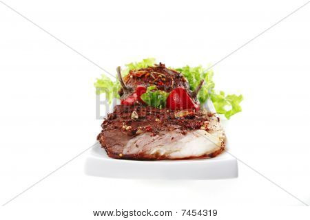 Served Beef Steak On Plate