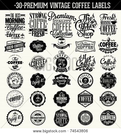 Set Of Vintage Retro Coffee Labels. Coffee decoration collection   Set of calligraphic and typograph