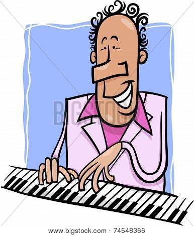 Jazz Pianist Cartoon Illustration
