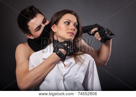 Man Take A Beautiful Woman As A Hostage