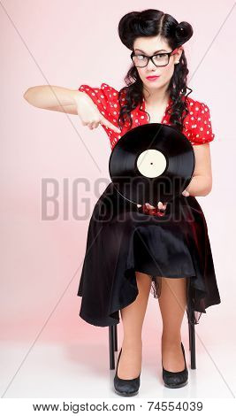 style Sexy phonography analogue record American Girl pin-up retro woman poster