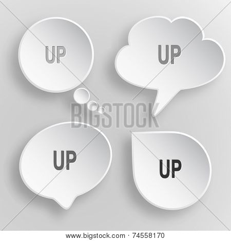 Up. White flat vector buttons on gray background.