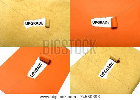 Set of upgrade text on orange and brown paper poster