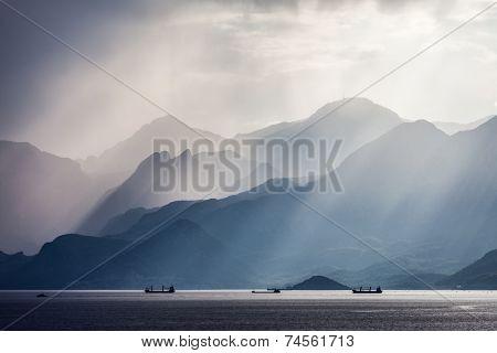 Beauty nature landscape of Taurus rock mountains over Mediterranean Sea at Turkey Antalya