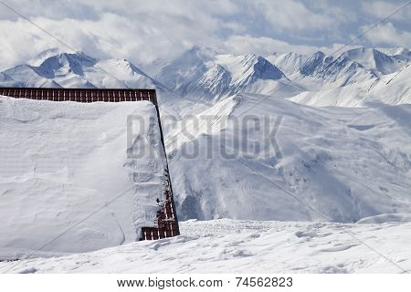 Hotel In Snow And Ski Slope