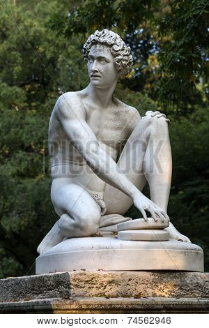 Paris - Luxembourg Gardens. Sculpture of Archidamas by Philippe Joseph Henri Lemaire poster
