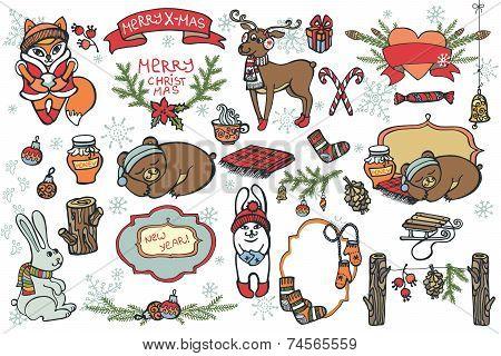 Christmas graphic elements,cartoon animals