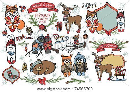 Christmas graphic elements, cute cartoon birds