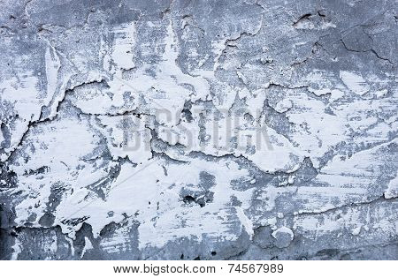 Partly whitewashed surface of the uneven hardened cement mortar. poster