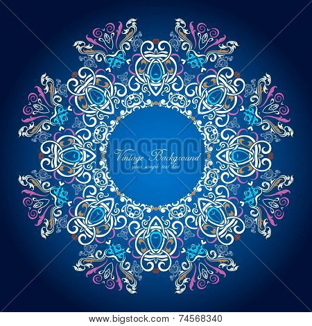 Ornamental round lace pattern. Delicate circle background with many details. poster
