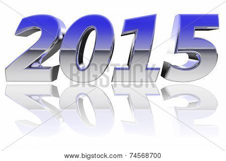 Chrome 2015 Digits With Color Gradient Reflections On Glossy White Background
