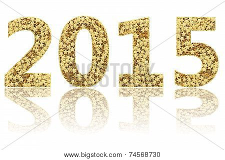 2015 Digits Composed Of Small Golden Stars On Glossy White Background
