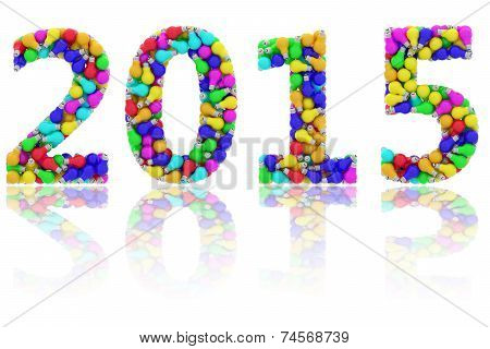 2015 Digits Composed Of Colorful Lightbulbs On Glossy White Background