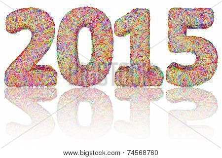 2015 Digits Composed Of Colorful Stripes On Glossy White Background