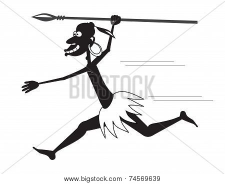 Runnibg Aboriginal With A Spear And A Earring